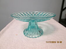 Clear Blue Glass Cheese Canape Candy Serving Platter 8""