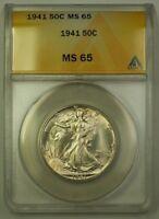 1941 US Walking Liberty Silver Half Dollar 50c Coin ANACS MS-65 Gem B