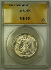 1941 US Walking Liberty Silver Half Dollar 50c Coin ANACS MS-65 Gem B