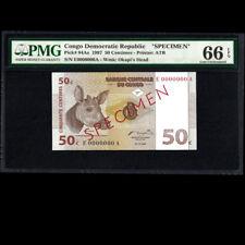 Congo Democratic 50 Centimes 1997 Specimen PMG 66 GEM UNCIRCULATED EPQ P-84As