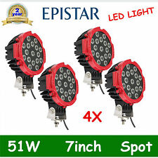 """4pcs 7"""" 51W LED Light Offroad Round Spot Work Lamp For Truck 4WD Bumper RED DEAL"""