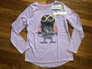 Girls Owl Sequin Lavender Size Large 10-12 Cat & Jack