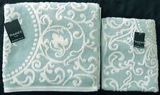 TAHARI HOME SCROLL LUXURY PALE AQUA BLUE 100% COTTON VELOUR BATH TOWEL 2PC SET