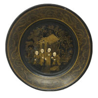 Chinese Cantonese Black Lacquer Gold Leaf Papier Mache Plate Of Four Monks 1900s