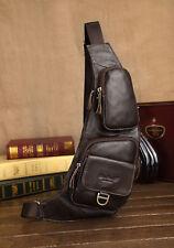 Men's Genuine Leather Travel Cross Body Messenger Shoulder Sling Chest Bag Pouch