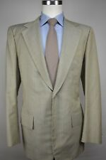 Minolta Light Green/Light Blue Striped Wool Blend Two Button 2 Pc Suit Size: 42R