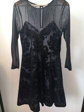 Atmosphere Size 12 Black Net Lined Long Sleeve Dress <T11750