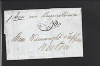 BOSTON, MASSACHUSETTS 1863 INCOMING TRANSATLANTIC STAMPLESS FROM LIVERPOOL.