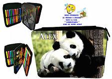 trousse à crayons école panda garnie personnalisable prénom au choix réf 112