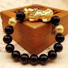 Pure 24K Yellow Gold Bracelet /Man Woman 3D Lucky Pixiu Link 8mm Mblack Obsidian