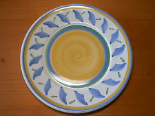 "Williams Sonoma TOURNESOL Italy Set of 5 Dinner Plates 11"" Yellow Center Blue"
