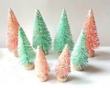 Lot 8 Mini Pink & Aqua Blue Miniature Sisal Bottle Brush Christmas Trees