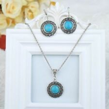 Cute New Tibetan Silver Round Greek Key Design Turquoise Earrings & Necklace Set
