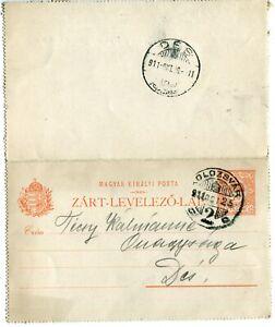 Hungary Transylvania 1911 10 Filler Stationery Closed Postcard,Kolozsvar to Des