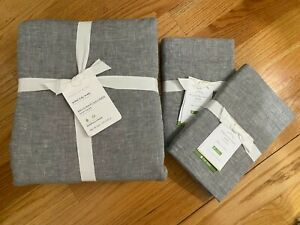 NEW POTTERY BARN BELGIAN FLAX LINEN KING/CAL.KING DUVET COVER & 2 EURO SHAMS