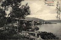 Lovrana Istrien Kroatien Vintage Postcard 1913 Küste Coast Halbinsel gelaufen