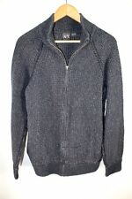 Armani Exchange Men's Large Navy Blue Gray Knit Full Zip Jacket