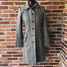 Lands' End Long Wool Pea Coat Gray Sz. 4