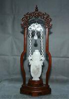 """22.8 """"hétian blanc jade néphrite sculpté fleur lotus suspendus flacon bouteille"""