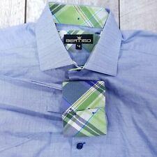 Bertigo Button Shirt Mens 4 Large Blue Check Cotton Long Sleeve Flip Cuff LB215