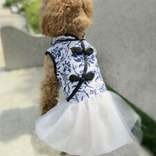 Handmade Puppy Pet Dog Clothes Blue and White Porcelain Princess Dress LH