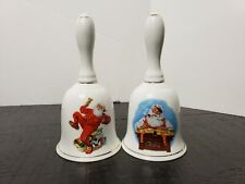 "Norman Rockwell Christmas Bells ""Ringing in Good Cheer"" & ""Checking His List"""