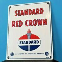 """VINTAGE STANDARD """"RED CROWN GASOLINE"""" 15"""" x 12"""" PORCELAIN AMERICAN GAS OIL SIGN"""