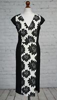NEXT Black White Floral Illusion Shift Dress Size 8 Pencil Wiggle Midi NEW