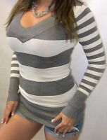 SEXY PREPPY STRiPED CARDiGAN LAYERiNG LOW CUT CLEAVAGE WOMENS TEE TOP S / M / L