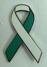 NEW Cervical Cancer Awareness ribbon enamel teal & white badge / brooch.Charity.
