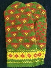 Latvian hand knitted 100% wool mittens, olive/brown/yellow (size M/L)