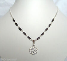 Pentagram Pendant Black Beaded Silver Plated Chain Necklace - Wicca Pagan Goth