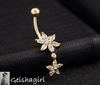 Clear CZ Gem Bar Double Star Body Piercing Gold Plated Heart Navel Ring Belly UK