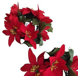 """New Microfiber Red Poinsettia 6.5"""" Candle Ring 3-1/2"""" opening Christmas Decor US"""
