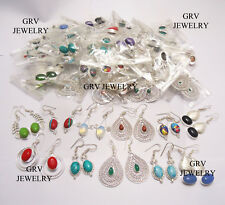 Gemstones 925 Sterling Silver Overlay 20pcs/ 20pairs Dangle Earrings Mix