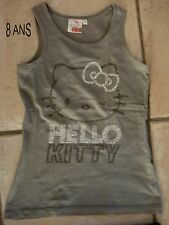 TEE SHIRT HELLO KITTY GRIS + STRASS SANS MANCHES COTTON T 8A