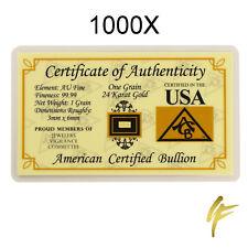 1000X Goldbarren 999,9 Feingold | Je 0,0648 Gramm Limitiert Zertifikat Blister g
