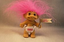 RUSS 1993 HAPPY NEW YEAR TROLL-Sparkle Strands in Pink Hair-Brown Eyes-3""