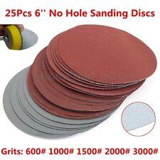 25Pcs 6'' Abrasive Sanding Discs Hook Loop Fit 600# 1000# 1500# 2000# 3000# Grit