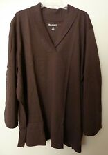 "Womens 2X Fit 3X Brown Shawl Collar LS Knit Top T-Shirt Bust 56"" ROAMANS Lgth 30"