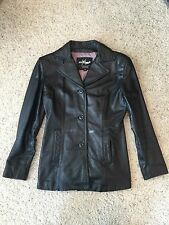 Wilsons Leather Maxima Black Blazer 3 Button Soft Coat Size Small