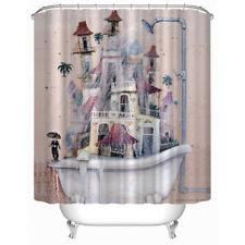"Chaplin&Castle&Bathtub Design Shower Curtain Bathroom Waterproof Fabric 71"""