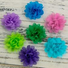 120PCS Chic Mini Soft Chiffon Fabric Flowers For Baby Headbands Hair Accessories