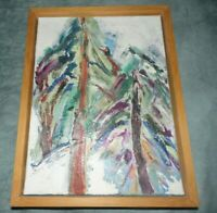 Original Signed C. Maloney Thk Texture Abstract Trees Oil Painting Framed.