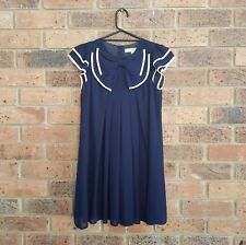 FOREVER 21 size S Dark Navy Blue & White Trim Pleated Dress Big Front Bow Button