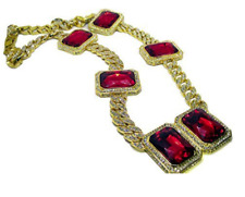 5 x Lab Ruby Block Miami Cuban Link 14K Gold Plated HipHop Bling Chain