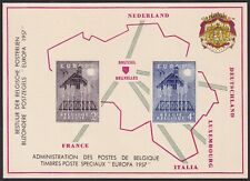 Belgium 1957 Special Proof Sheet EUROPA Issue FEUILLET DE LUXE Cob LX26....A4853
