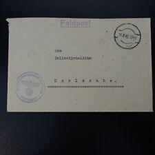 ALLEMAGNE LETTRE FELDPOST BRIEF 11.08.1942 -> POLIZEIPRÄSIDIUM KARLSRUHE