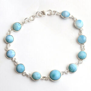 LARIMAR Gemstone Fine HANDMADE Jewelry 925 Solid Sterling Silver Bracelet