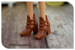 New Barbie doll clothes quality shoes pair brown ankle boots shoes accessories